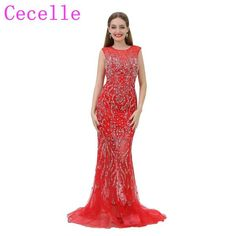 2018 New Luxury Beading Red Mermaid Long Prom Dress Jewel Neck Sheer  Sweetheart Neckline Open Back Illusion Skirt Party Dress fc56111dd405