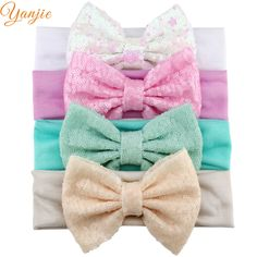 Lot Baby Girls Tiny Velvet Bow Soft Elastic Headbands Fit All Sizes Accessories