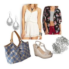 Spring/summer 2014 outfit: white lace romper with black floral kimono, silver corsica bangle, silver crochet wedges, blue and beige hobo bag, silver dangly earrings