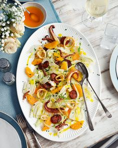 Squid fennel and chorizo salad with orange oil Delicious Magazine Fennel Recipes, Chorizo Recipes, Squid Salad, Squid Recipes, Calamari Recipes, Seafood Recipes, Chorizo Salad, Fennel Salad, Orange Salad