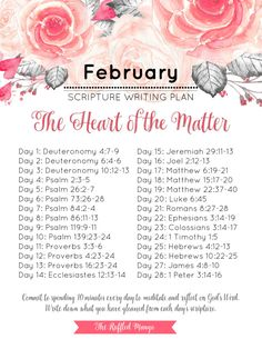 February Scripture Writing Guide: The Heart of the Matter If you're looking for a simple way to get more of God's Word into your daily life, look no further than a monthly scripture writing schedule. Scripture Reading, Daily Scripture, Scripture Study, Scripture Images, Bible Study Plans, Bible Plan, Bible Prayers, Bible Scriptures, Writing Plan