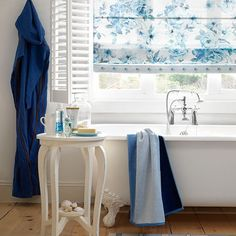 blue and white bathroom blinds - housetohome.co.uk