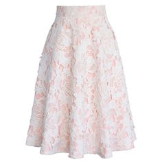 Chicwish My Dear Roses Lace A-line Midi Skirt in Pink ($53) ❤ liked on Polyvore featuring skirts, bottoms, saias, юбки, pink, lace a line skirt, crochet lace skirt, pink skirt, dressy skirts and lace skirt
