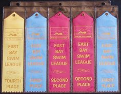 10 Swimming Ribbons Organizer Storage PAGES Award Ribbon Holder Display Gift Swim Gymnastics Track and Field Mercurydean