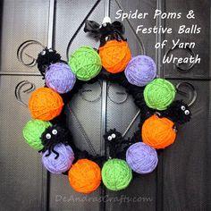 Spider Poms & Festive Balls of Yarn Wreath - full tutorial