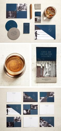 Quarter + Glory branding by LMNOP. An ode to the bars of old, Quarter + Glory is a nod to classic American watering holes where the everyman gathered to share good drink and conversation.
