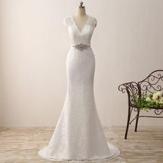 73ffa8018bd5 Cap Sleeve New Long White Ivory Lace Mer.. Formal Dresses For WeddingsWedding  Dresses For SaleLuulla ...