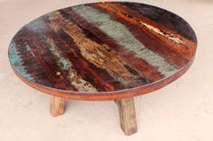 "Beautiful Vintage & Rustic Round 40"" Coffee Table Made With Solid Reclaim Wood"
