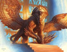 Art by Chris Rahn from the Magic the Gathering card Glyph Keeper. Mythical Creatures Art, Mythological Creatures, Magical Creatures, Fantasy Creatures, Fantasy Monster, Monster Art, Creature Concept Art, Creature Design, Le Sphinx