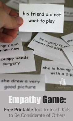 Free printable empathy game to help kids develop empathy for others. This is a great resource if you teach students with ANY type of special learning needs. Read more and get this FREE resource at: www. Class Meetings, School Social Work, Primary School, Therapy Tools, Art Therapy, Social Thinking, Social Emotional Learning, Character Education, School Psychology