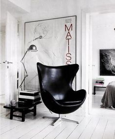 Would love to have the Egg Chair by Arne Jacobsen in my home (from the Tumblr blog The Black Workshop)