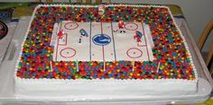 Hockey Cake - I made this cake for my sons birthday. It is four for the hockey rink and the spectators stand was moulded out of 18 batches of rice krispie squares. I filled the cakes with a rootbeer flavoured frosting. He loved it! Hockey Birthday Cake, Hockey Birthday Parties, Hockey Party, My Son Birthday, Dad Birthday Cakes, Birthday Ideas, Birthday Gifts, Hockey Cupcakes, Cakes For Boys