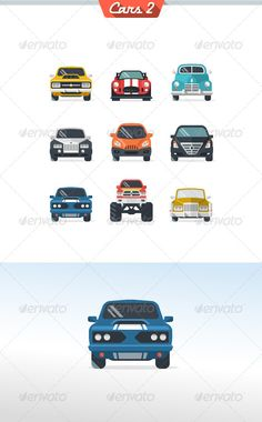 Car Icon Set 2 — Photoshop PSD #muscle car #retro • Available here → https://graphicriver.net/item/car-icon-set-2/5514452?ref=pxcr