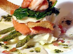 Idaho Rainbow Trout and Prawn Napoleon With Lemon-Shallot  Beurre Blanc Sauce recipe from The Best Of via Food Network
