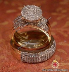 His and Her Diamond Engagement Bridal Wedding Band Trio Ring Set Yellow Gold Bridal Bands, Wedding Band Sets, Diamond Wedding Bands, Cheap Wedding Rings, Beautiful Wedding Rings, Band Engagement Ring, Engagement Ring Settings, Wedding Engagement, Bridal Jewelry