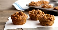 If fall were a snack, it would be these nutty, spiced muffins. Add raisins and walnuts for a little extra oomph.