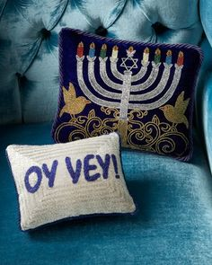 Hanukkah Pillows by Sudha Pennathur at Bergdorf Goodman.