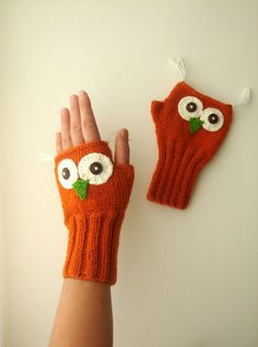 Owl  Fingerless Gloves. Hand Knit Gloves. Winter Fashion 2013. Arm Warmes / Boys and Girls on Etsy, $35.90