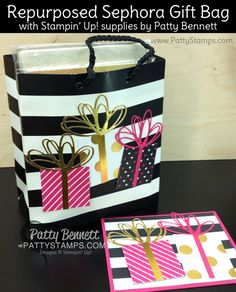 "Stampin Up! Blog Candy Giveaway - repurposed Sephora bag decorated with Pop of Pink ""gifts"" with bows, by Patty Bennett. www.PattyStamps.com"