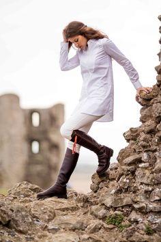 Saffron button-up tunic shirt with bib detail - a true day to night Perfect White Shirt