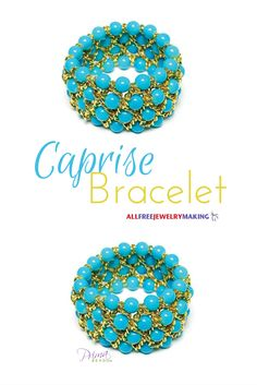 This bracelet is made with stretchy cord, chain, and round turquoise beads. Love the look! @primabead