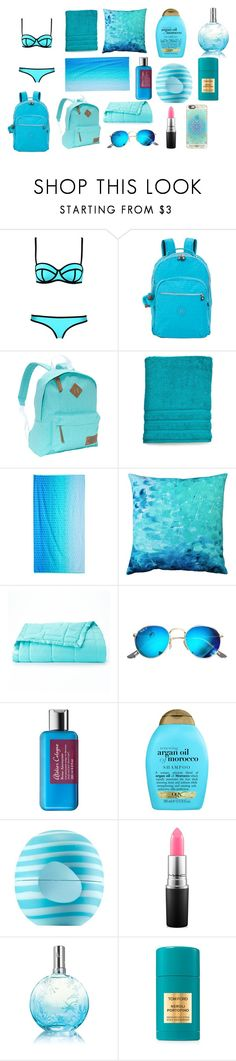 """""""Turquoise other stuff"""" by gizemgonenc ❤ liked on Polyvore featuring Kipling, Dickies, Celebrate Summer Together, Pillow Decor, Ray-Ban, Atelier Cologne, Organix, Eos, MAC Cosmetics and Lise Watier"""