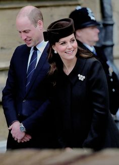 The Duke and Duchess of Cambridge attends the Easter Mattins Service at St. George's Chapel at Windsor Castle on April 1, 2018 in Windsor, England.