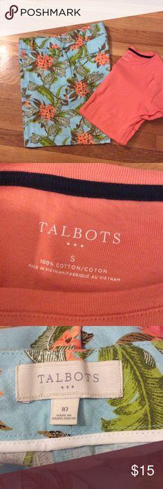 Talbots linen shorts and Tee Aqua linen w/ tropical print and tangerine coordinating tee. EUC tee never in dryer. Talbots Shorts Bermudas