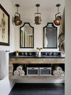 modèle de salle de bain à l'italienne, meubles en bois