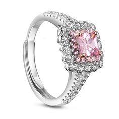 SWEETIEE® Stunning 925 Sterling Silver Finger Ring, with Micro Pave Pink 5A…