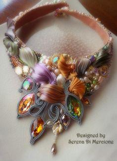 """""""Automne en Provence"""" Necklace by Serena Di Mercione --- beadembroidery, soutache, shibori silk, swarovski, pearls."""