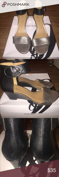 "NIB Nine West Ventana Sandals NIB never worn black and pewter sandals. Sz 10. 100% leather upper. Heel around 2 1/4"". Smoke free home. No trades. If listed, it is available. Nine West Shoes Sandals"