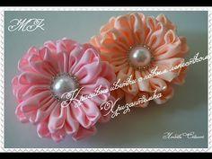 Всем приветик! Как и обещала, показываю, какие цветочки можно сделать из красивых лепесточков Diy Ribbon Flowers, Ribbon Art, Ribbon Hair Bows, Diy Hair Bows, Ribbon Crafts, Flower Crafts, Fabric Flowers, Quilling Flowers, Kanzashi Flowers