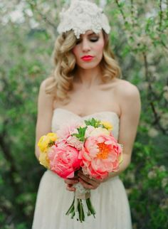 Coral Charm Peonies.  Source:: Bridal Musings - www.bridalmusings.com Photography: Laura Murray Photography - lauramurrayphotography.com  View entire slideshow: Peony Bouquets on http://www.stylemepretty.com/collection/572/