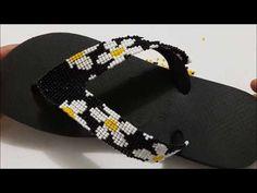 CABEDAL FLOR DE MIÇANGUINHA-VIDEO 2 - YouTube Bling Flip Flops, Flip Flop Sandals, Beaded Sandals, Kitenge, Hand Embroidery Designs, Slippers, Jewelry Making, Diy Crafts, Beads
