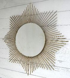 Antique VINTAGE FRENCH MID CENTURY SUNBURST MIRROR GILT METAL RAYS | ANTIQUES.CO.UK |