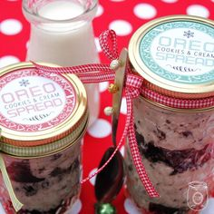 oreo cookies and cream spread in a mason jar gift