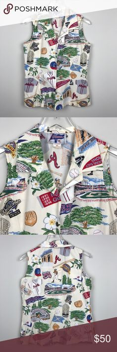 "[Reyn Spooner] Vintage Atlanta Braves Shirt MLB M Vintage women's Reyn Spooner Button down blouse. Sleeveless. Hawaiian inspired baseball Print. Atlanta Braves. Turner Field. So unique!   ▪️Pit to Pit: 19"" ▪️Length: 25"" ▪️Condition: Pre-Owned. Excellent condition.   ▫️A1 Vintage Tops Blouses"