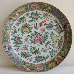 Fine Old Chinese Famille Rose Verte Flowers Birds & Bugs Motif Porcelain Plate