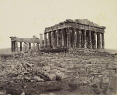 Francis Bedford (photographer) South West View of the Parthenon [on the Acropolis, Athens, Greece] 31 May 1862 Greek Buildings, Parthenon Athens, The Queen's Gallery, Buckingham Palace London, The Royal Collection, Greek Art, London Art, Athens Greece, Prince Of Wales