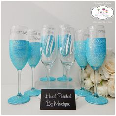 Mr. & Mrs. and Wedding Party Champagne by InaSpinNiquesWay on Etsy
