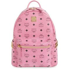 MCM 'Small Stark' Side Stud Backpack ($720) ❤ liked on Polyvore featuring bags, backpacks, denim, day pack backpack, pink backpack, strap bag, studded bag and ipad bag
