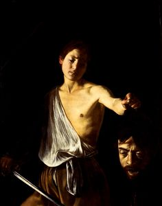 David with the Head of Goliath, Caravaggio. I love how he incorporates his own self portrait (Goliath) into the painting. Notice the typical tenebrism lighting as commonly seen in Caravaggio's works.