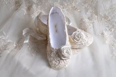 Wedding Shoes- Limited Edition Victoria Bridal Ballet Flat, Vintage Lace, French Sequins, Swarovski Crystals and Pearls- Handmade Shoes via Etsy