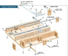 Exploded view of table saw sled design