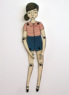 miniature moveable paper doll by JordanGraceOwens on Etsy, $7.00