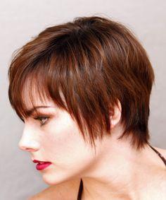 Short Straight Casual Hairstyle - Medium Brunette (Auburn) - side view 1