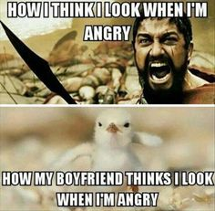 """71 Relationship Quotes - """"How I think I look when I'm angry. How my boyfriend thinks I look when I'm angry."""" 71 Relationship Quotes - How I think I look when I'm angry. How my boyfriend thinks I look when I'm angry. Super Funny, Funny Cute, Hilarious, Funny Love Gif, Funny Images, Funny Pictures, Funny Pics, Funny Relationship Memes, Relationship Tips"""