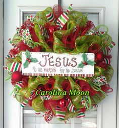 Christmas Wreath Lime Green Red Stripe Deco by CarolinaMoonDecor, $55.00