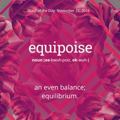 """equipoise: (e·qui·poise ˈekwəˌpoiz) noun balance of forces or interests. """"this temporary equipoise of power"""" verb balance or counterbalance (something). Origin: mid century: from equi- 'equal' + the noun poise, replacing the phrase equal poise. Interesting English Words, Unusual Words, Weird Words, Rare Words, Big Words, Unique Words, Powerful Words, Cool Words, Pretty Words"""